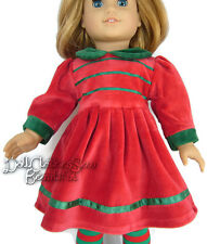 "Red Velour with Green Trim Holiday Dress for 18"" American Girl Doll Clothes"