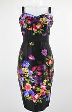 NWT Milly Black/Multicolored Floral Print Sleeveless Sheath Dress Size 8