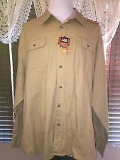 Mens NWT LEE 4XL LS Twin Pocket Khaki/Tan Mountain Man Button Up Shirt