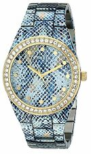 Guess Women's Ice Blue Python Print Gold Tone Watch w/ Crystals Watch - U0583L1