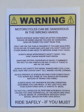 FUNNY MOTORBIKE WARNING STICKER Humorous Joke motorcycle CHOPPER BOBBER SCOOTER