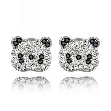 GORGEOUS 18K WHITE GOLD PLATED AND SWAROVSKI CRYSTAL PANDA EARRINGS