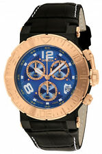New Men's Invicta 10584 Ocean Reef Reserve Chronograph Blue Dial Leather Watch