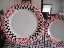 "Coca Cola Checkered Dinner Plate (s) 10 1/2"" Gibson Stoneware White Red Black !"