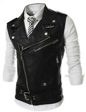 2014 Men's Leather Jacket PU Casual Vest Waistcoat Lapel Motor Coat Clothing