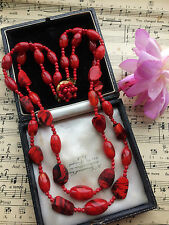 Vintage 50s 60s Mad Men Era Double Strand Red Art Glass Beads Necklace. GIFT