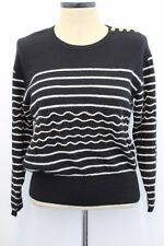 VTG SONIA RYKIEL Women's Black White Striped Angora Wool Sweater Sz 38