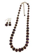 Púrpura brillante cristal facetado granos collar y pendiente conjunto,,, Con Bolsas De Regalo