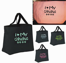 TOTE Bag I LOVE MY DOGGY CHIHUAHUA DALMATION PUPPY BREEDER  ANY BREED  GIFT