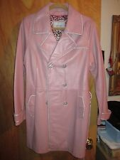 Wilson Genuine Leather Pink  Trench Coat Retro Womens Large Excellent! freeship
