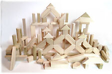 112 Pieces Natural Wood Toy Building Blocks - Handcrafted in USA - Elegant Toys
