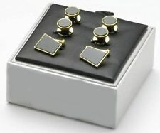 Gold Plated and Black Onyx Cufflinks and Dress Studs in a Gift Box  Ref 9393