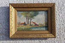 Vintage Signed Painting with Flower Carved Wooden Frame Flemish Landscape