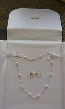 Fortunoff 14K Gold Pearl Necklace Earrings Set With Original Case & Box