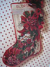 Christmas Holiday Candamar Needlepoint Stocking Craft Kit,VICTORIAN ROSES,30742
