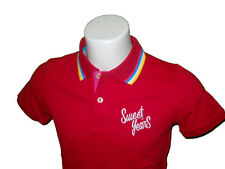 POLO SWEET YEARS UOMO T-SHIRT COTONE PIQUET ROSSO CON RIGHINO TG L