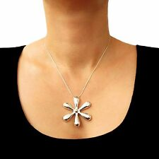 Large 925 Sterling Taxco Silver Flower Necklace 45cm