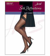 Hanes Silk Reflections Sandalfoot White Thigh-High Stockings Size AB