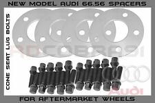 4 Pc 5 mm Audi 5x112mm 66.56 Wheel Spacers Black Fits: A4 A5 A6 S4 S5 2009-2016