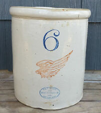 Vintage Antique 6 Gallon Red Wing Big Wing Stonware Crock