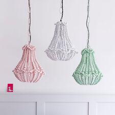 White Marla Wooden Beaded Chandelier / Light Lamp Shade / Pendant Bombay Duck