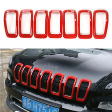 Red ABS Car Front Grille Inserts Mesh Grill Trim For Jeep Cherokee 2014-2017