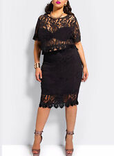 NEW Women Lace Plus Size Evening Cocktail Bodycon Sexy Pencil Dress Set Outfit