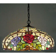 Hanging Ceiling Lamp Fixture Tiffany Style Amber Red Flower Stained Glass Shade