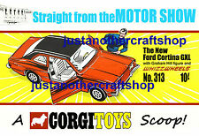 Corgi Toys 313 Graham Hill Ford Cortina GXL Poster Advert Leaflet Sign