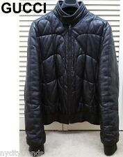 GUCCI leather jacket black bomber aviator flight puffer quilted coat nr 36 46 S