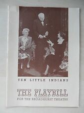 October 1944 - Broadhurst Theatre Playbill w/Ticket - Ten Little Indians