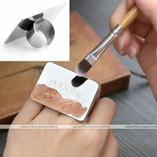 Nail Makeup Cosmetic Stainless Steel Paint Mixing Palette Ring Tool  Art