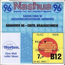 Ticket II. BL 90/91 Hannover 96 - Eintracht Braunschweig