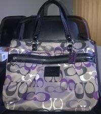 NWOT COACH DAISY SIGNATURE LARGE BAG TOTE PURSE F22961 PURPLE/BLACK/MULTI- RARE