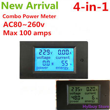 AC 100A Power Monitor Volt Amp kWh Watt Digital Panel Eletric Combo Meter 220V