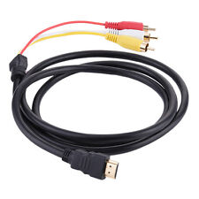 1080p HDMI Male to 3 RCA AV Audio Video 5FT Cable Cord Adapter for TV HDTV DVD