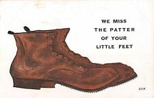 POSTCARD  COMIC   We  miss the patter of  your little  feet