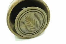 Early Primitive Antique Wooden Butter Mold Stamp Grass Reeds Leaves Motif