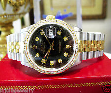 Mens ROLEX Oyster Perpetual Datejust Diamonds Yellow Gold S/Steel Black Face