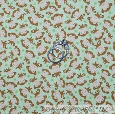BonEful Fabric Cotton Quilt Green Brown Monkey STAR Baby Boy Small Nursery SCRAP