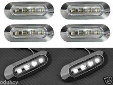6x White LED Side Marker Lights Truck Bus Lorry LKW Trailer Camper 24V Chrome