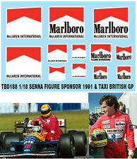 1/18 AYRTON SENNA FIGURE SPONSOR & TAXI 1991 BRITISH F1 DECALS TB DECAL TBD188