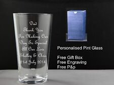 Pint Glass, Father of the Bride / Groom Wedding Gift, Wedding Favour,