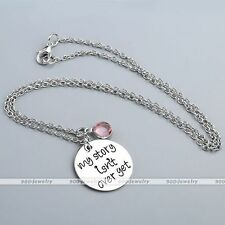 Silver My Story Isn't Over Yet Chain Necklace Gift Rhinestone Engraving Pendant
