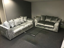 "DYLAN GLITZ3+ 2 SEATER SOFAS SET"" SILVER CRUSHED VELVET"" many COLOURS AVAILABLE"