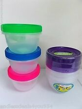 3 PORTION CONTROL FOOD CONTAINERS-6 PCs- SCREW ON LID-470ml/16 fl oz-PURPLE