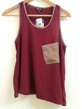 Lily White S Burgundy Red Tan Sheer Tank top Shirt Small NWT New