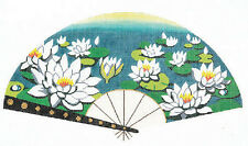LEE Oriental Fan Cluster of Water Lilies HP handpainted Needlepoint Canvas