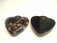 1 x Foil Lined LARGE Glass Pendant : BNFP05 Heart