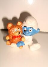 FIGURINE SCHTROUMPF SMURF BEBE AVEC OURSON 2.0205 SCHLEICH 84 CE GERMANY